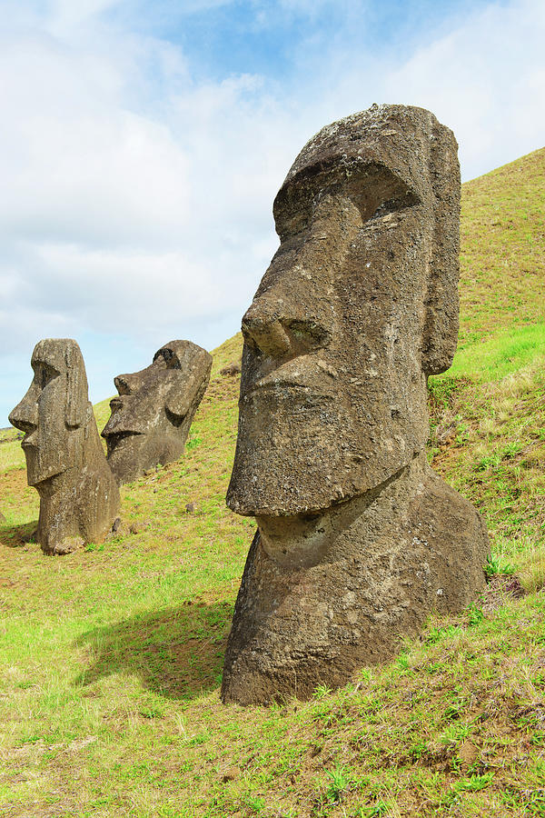 Three Moai Half Buried In A Quarry Photograph by Volanthevist