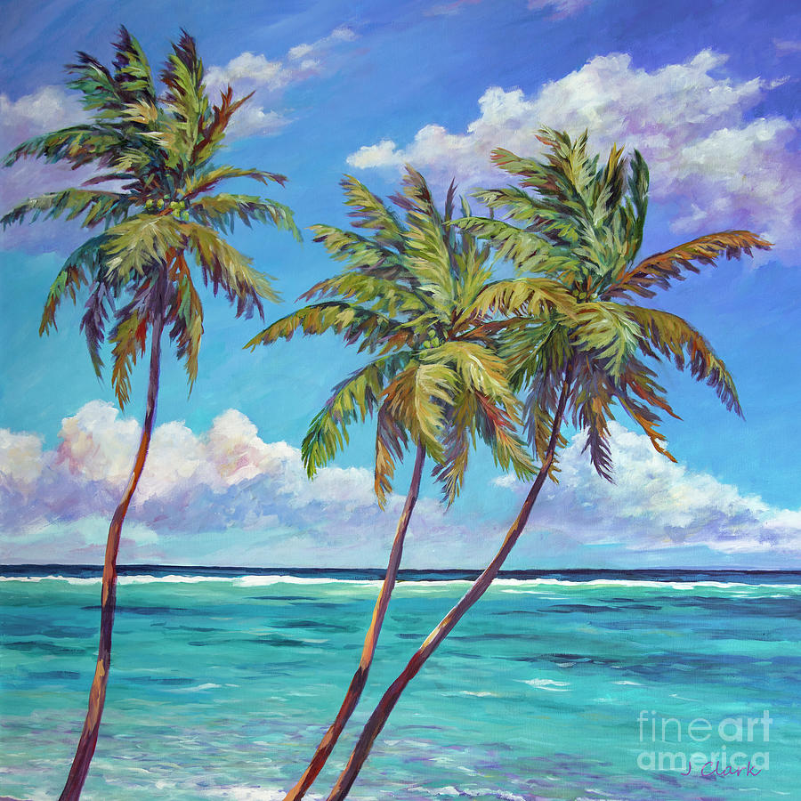 Three Painting - Three Palms Against The Sky by John Clark