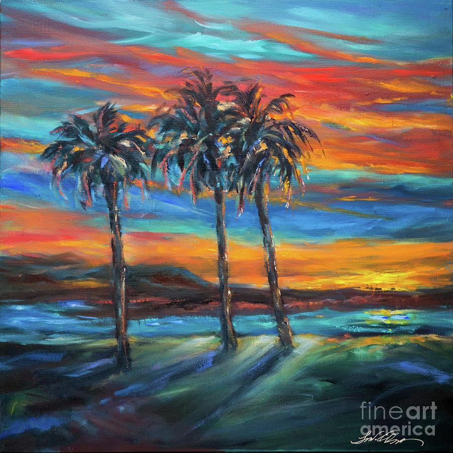 Three Palms at Sunset by Linda Olsen