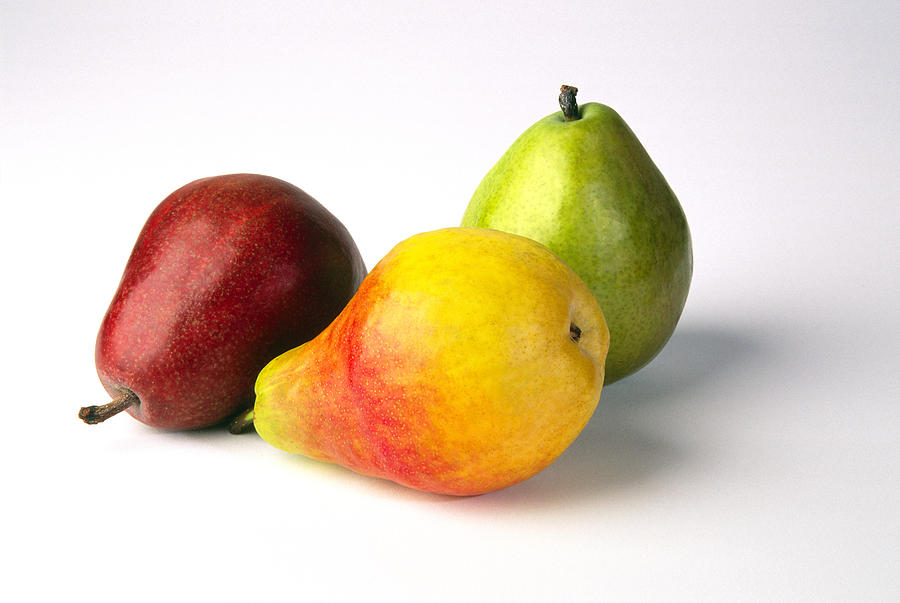 Three Pears, Red, Yellow And Green, On Photograph by Diane Miller
