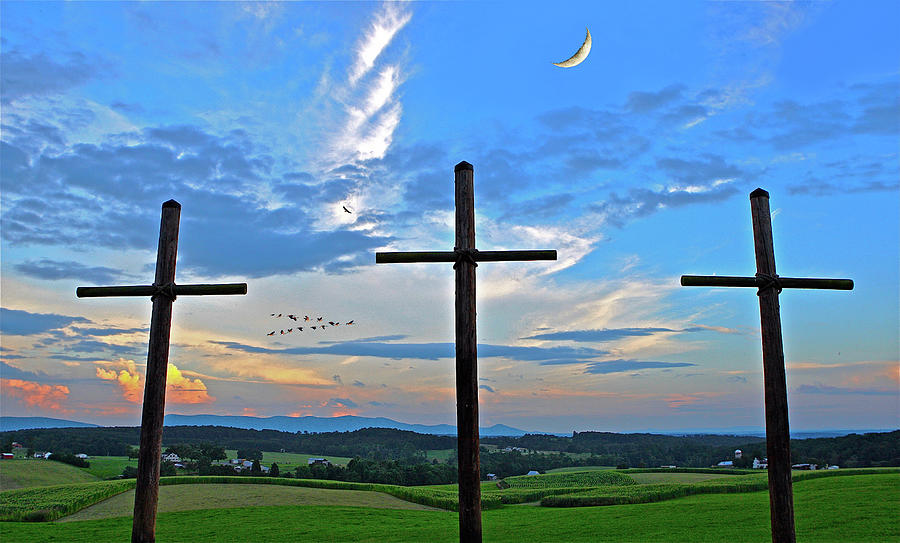 Three Rugged Crosses Against the Crescent Moon at Smith Mountain Lake by James Roney