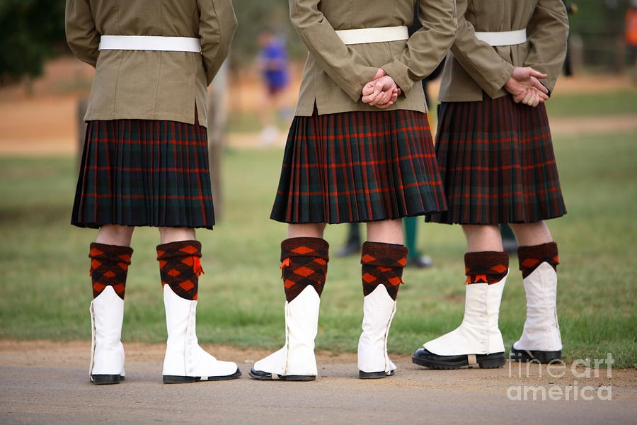 Play Photograph - Three Scottish Solders Dressed In Kilts by Mark Atkins