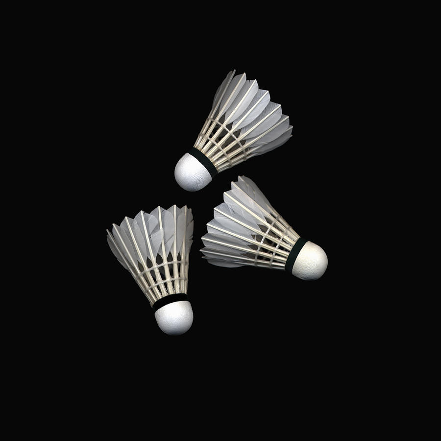Three Shuttlecocks On Black Background Photograph by Siri Stafford