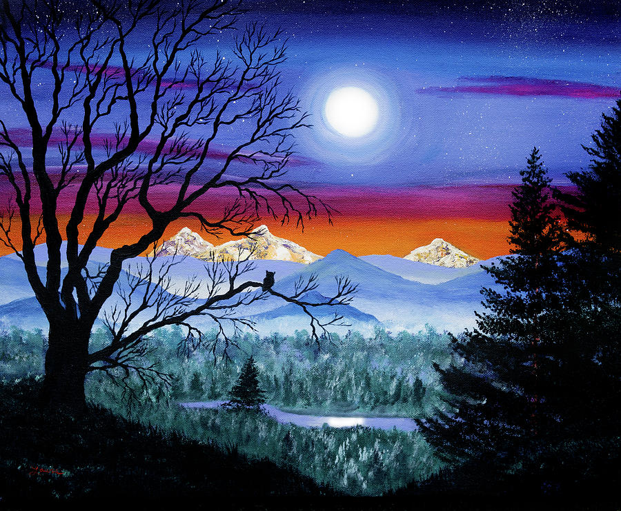 Three Sisters Overlooking a Moonlit River by Laura Iverson