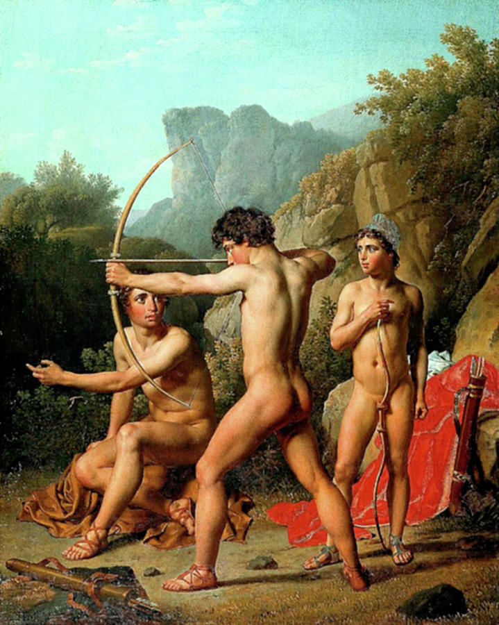 Three Spartan Boys Practicing Archery by Chrisoffer Wilhelm Eckersberg