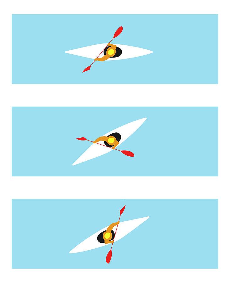 Three Stages Of Kayaker Performing Digital Art by Dorling Kindersley