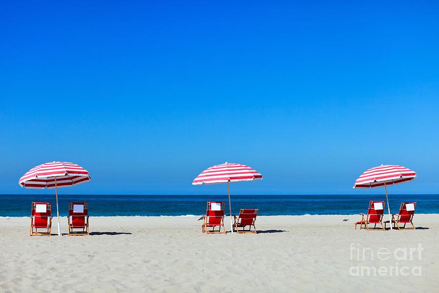 Santa Monica Photograph - Three Sun Umbrellas At Santa Monica by Blueorange Studio