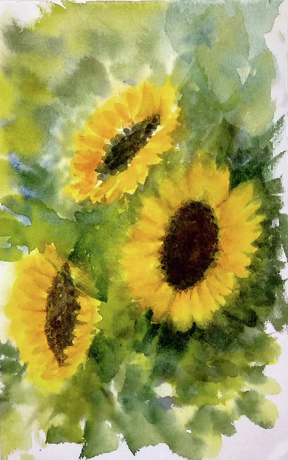 Three sunflowers by Asha Sudhaker Shenoy