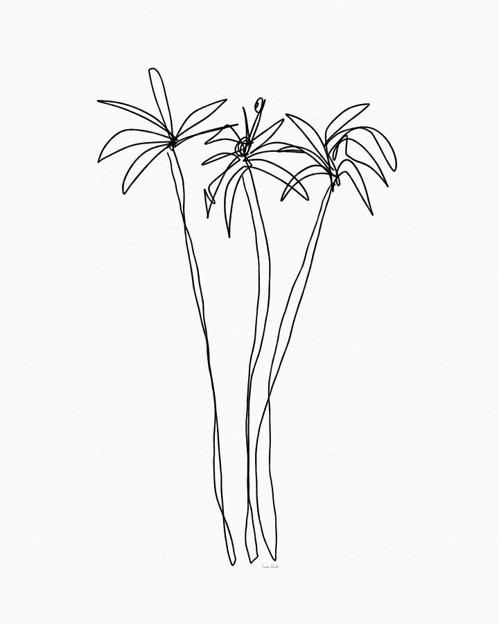Trees Drawing - Three Tall Palm Trees- Art by Linda Woods by Linda Woods