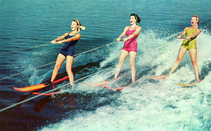 Three Women Waterskiing Photograph by Graphicaartis