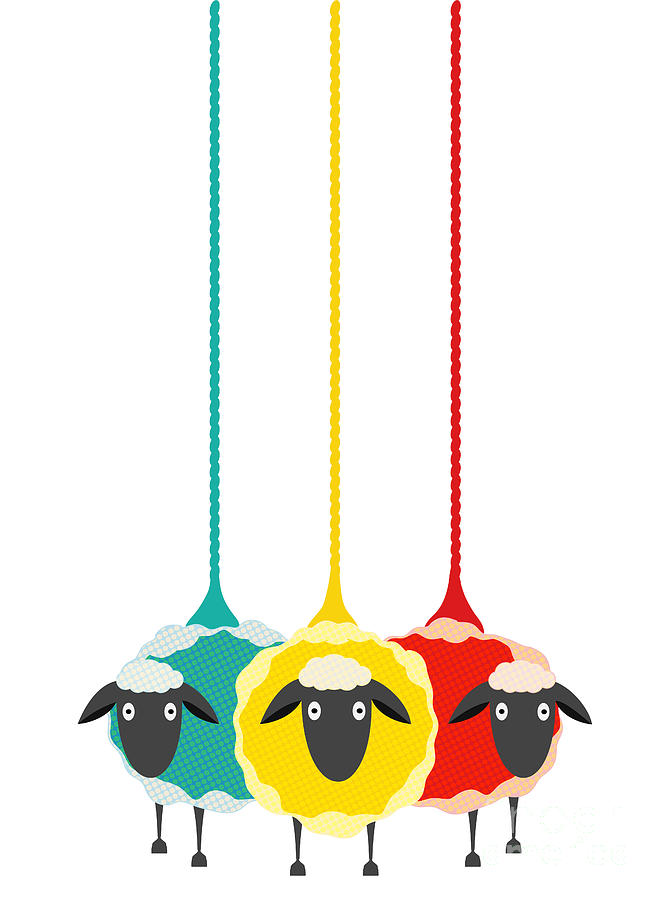 Wool Digital Art - Three Yarn Sheep. Vector Eps10 Graphic by Popmarleo