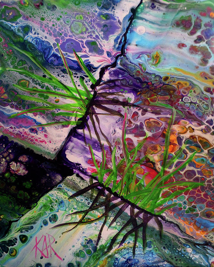 Grass Painting - Through The Cracks by Art by Kar