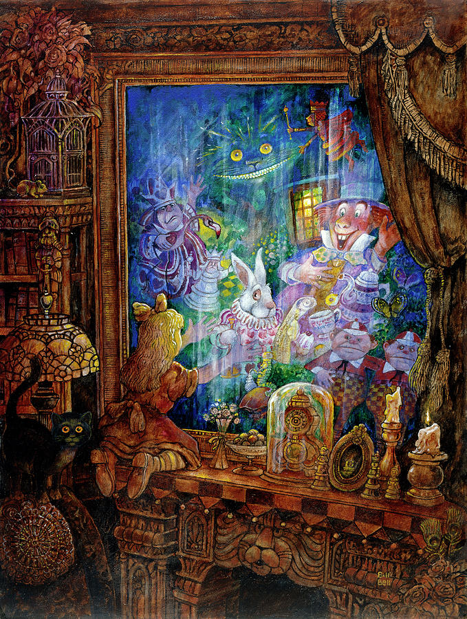 Alice In Wonderland Painting - Through The Looking Glass by Bill Bell