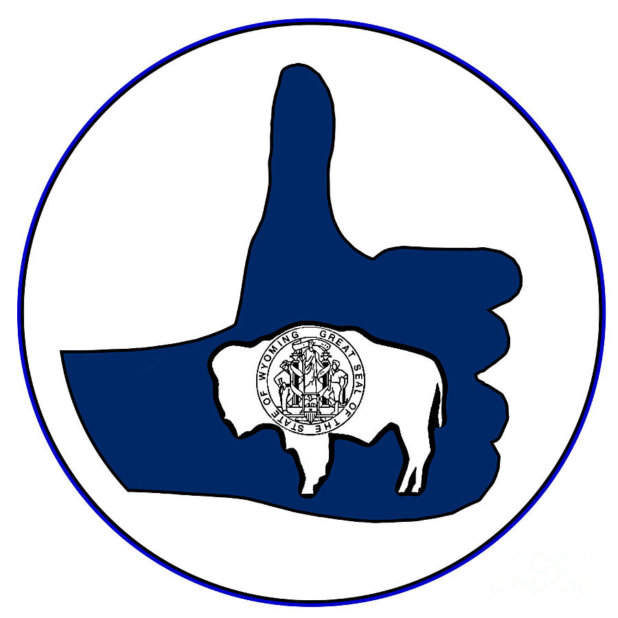 Wyoming Digital Art - Thumbs Up Wyoming by Bigalbaloo Stock