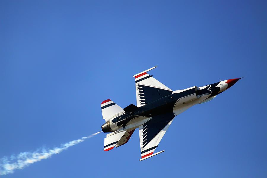 Thunderbird 6 Flies Overhead - Air Force Thunderbirds - USAF F-16 by Jason Politte