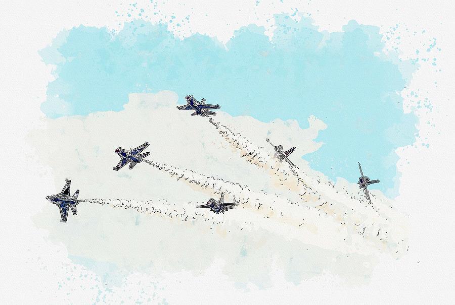 Thunderbird Delta Break watercolor by Ahmet Asar by Ahmet Asar