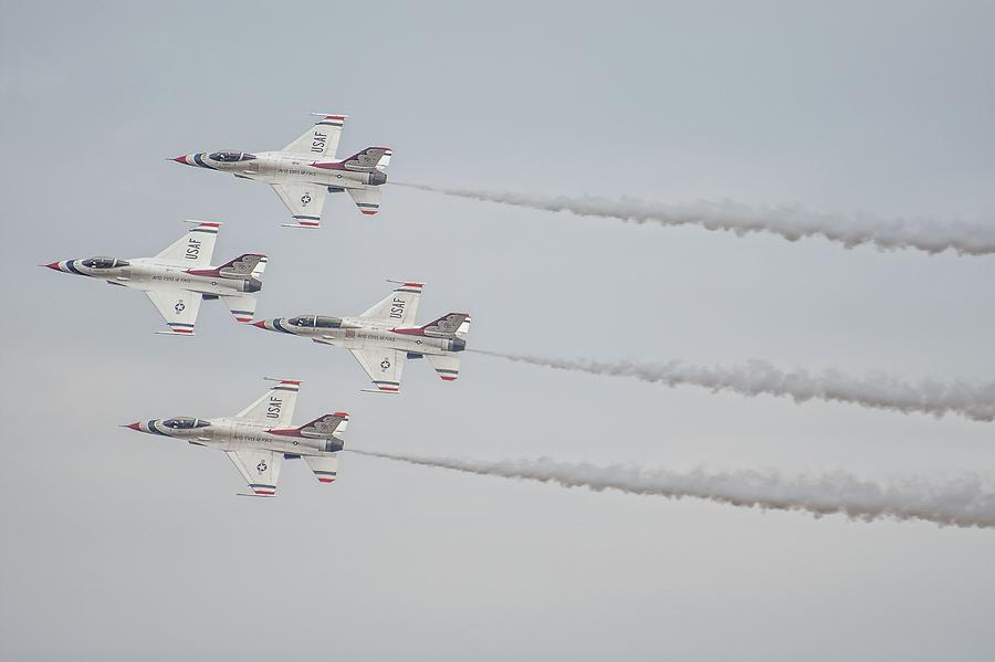 Thunderbirds Delta Formation With Smoke Photograph by Robert Hayes