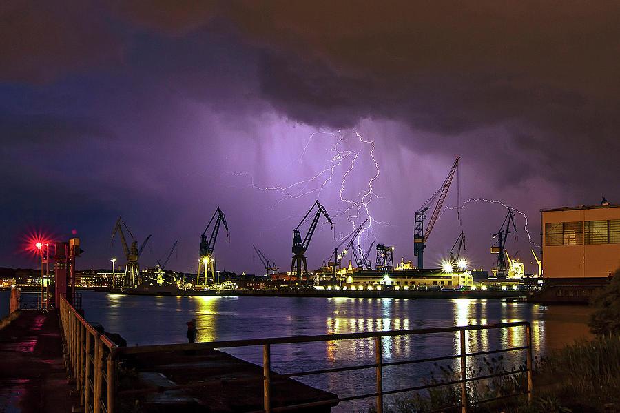 Thunderstorm Over The Port Of Hamburg Photograph by Klaus Kehrls
