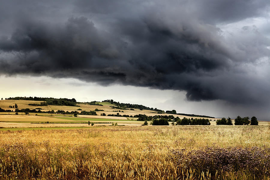 Thunderstorm Over Wheatfields Photograph by Ollo