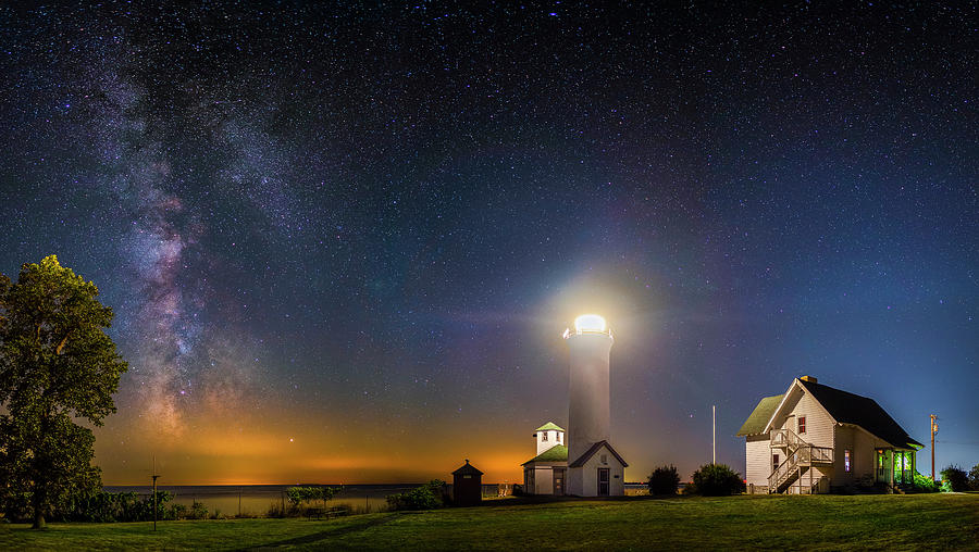 Tibbetts Point Lighthouse at Night by Mark Papke
