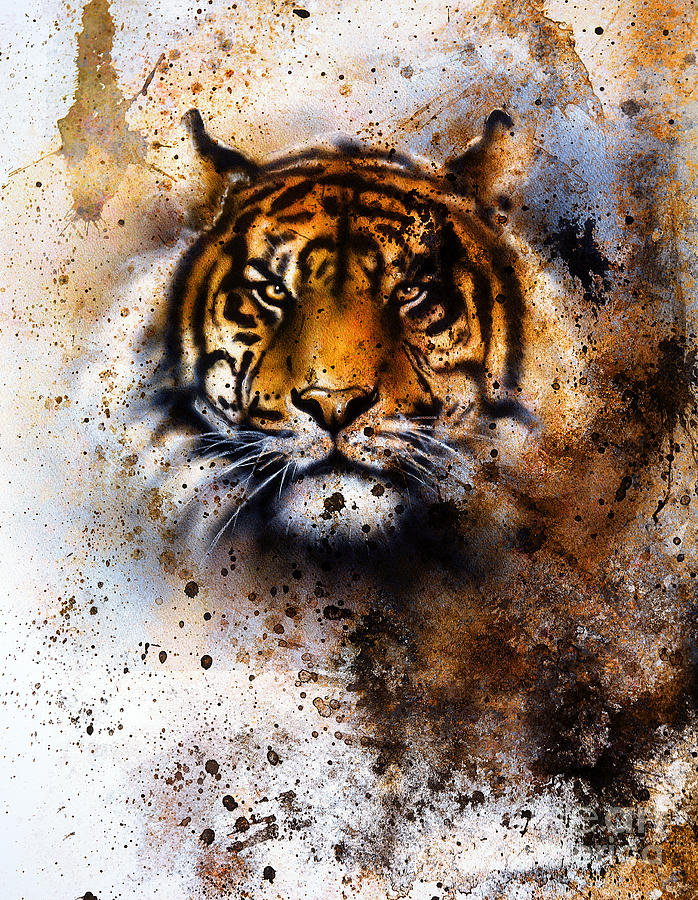 Big Photograph - Tiger Collage On Color Abstract by Jozef Klopacka