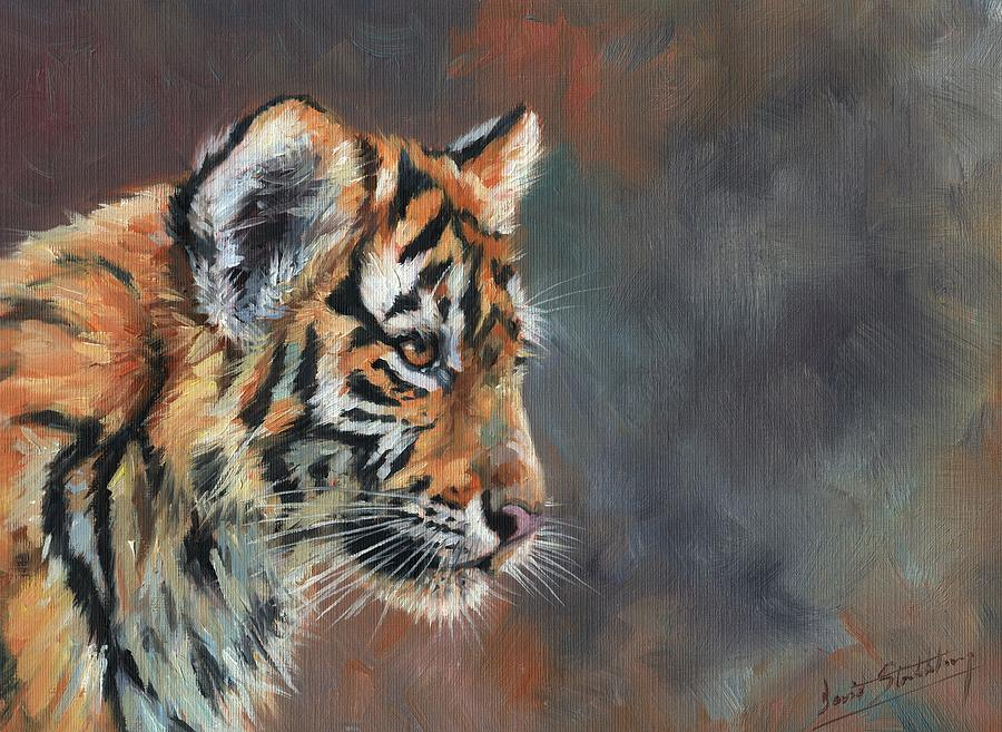 Tiger Cub Portrait by David Stribbling
