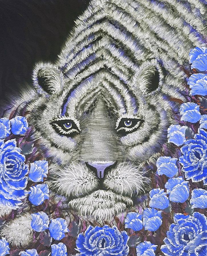 Blue Painting - Tiger Relaxing Blue by Angela Whitehouse