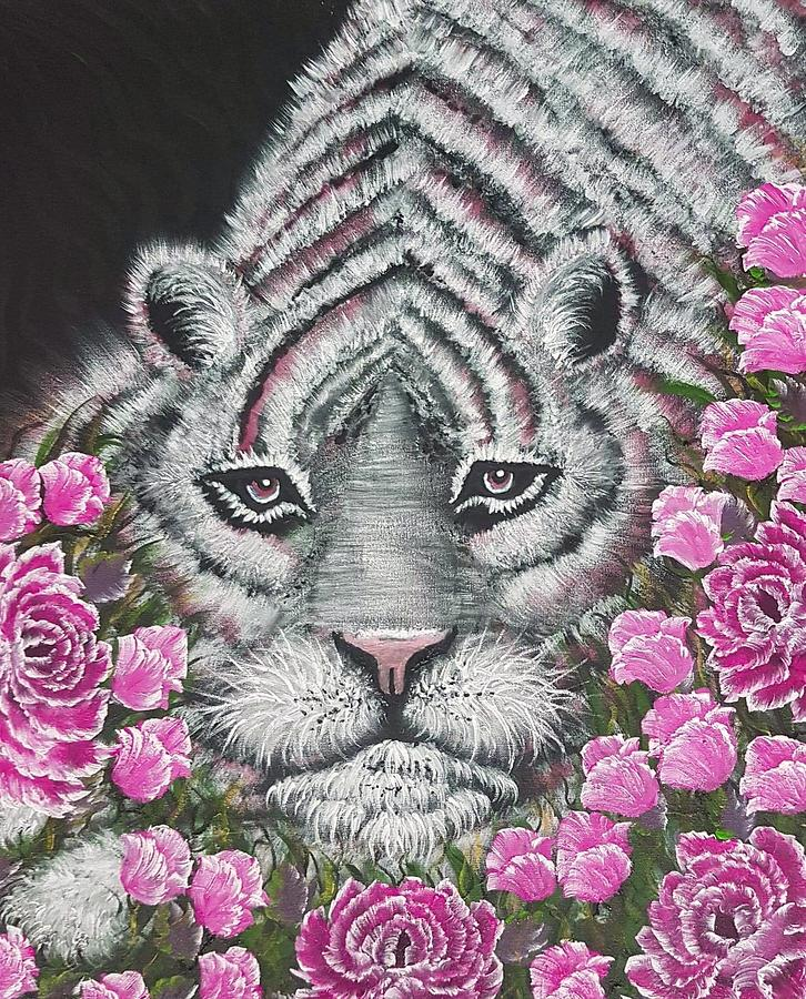 Tiger Painting - Tiger Relaxing Pink by Angela Whitehouse