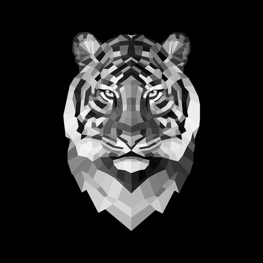 Tiger Digital Art - Tigers Face by Naxart Studio