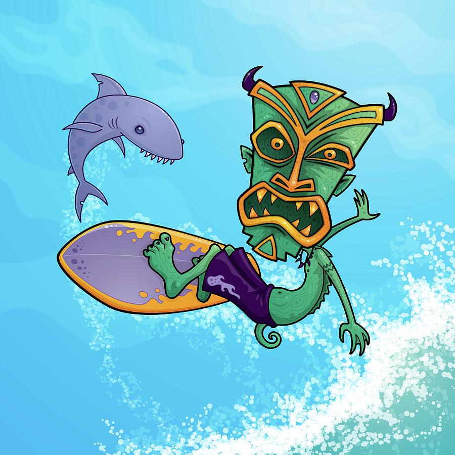 Tiki Surfer Digital Art