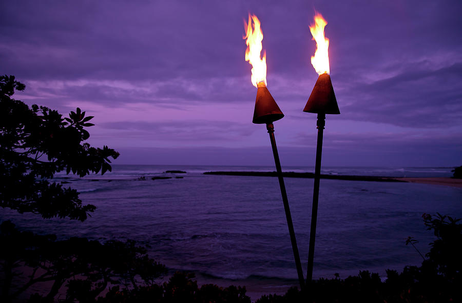 Tiki Torches In Hawaii At Sunset Photograph by Skodonnell