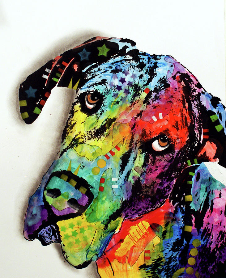 Domestic Dogs Mixed Media - Tilted Dane by Dean Russo