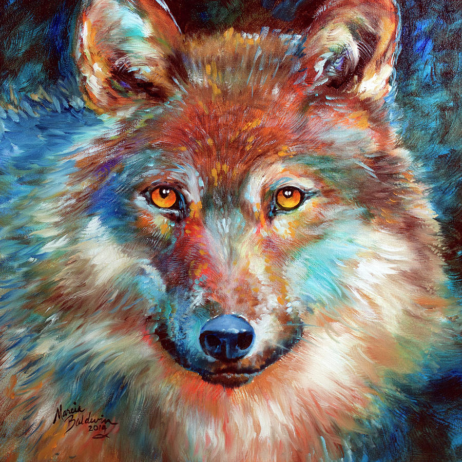 Timber Wolf Painting - Timber Wolf Abstract by Marcia Baldwin