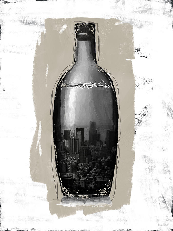 Bottle Mixed Media - Time In A Bottle 2- Art By Linda Woods by Linda Woods