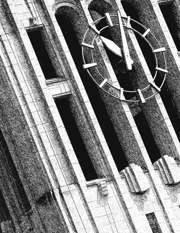 Clock Tower Digital Art - Time Tilts by Phil Perkins