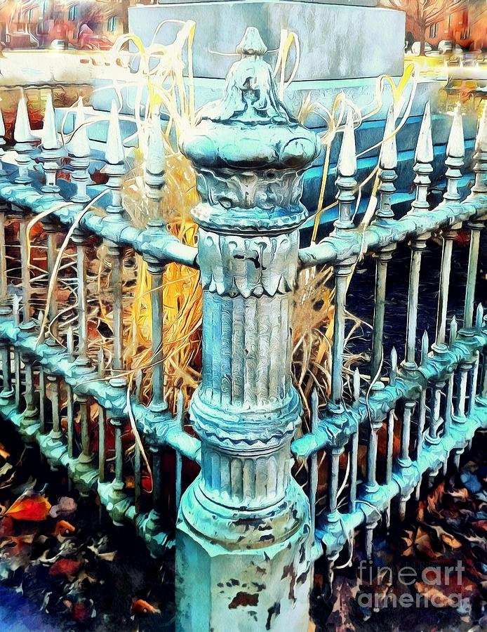 Time will Tell 2 - Wrought Iron Fence  by Janine Riley