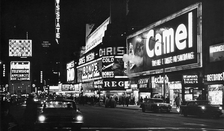 Times Square At Night Photograph by Fred W. McDarrah