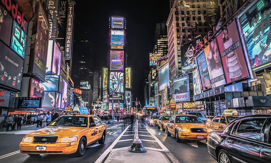 Outdoors Photograph - Times Square At Night With Famous Nyc by Ed Norton