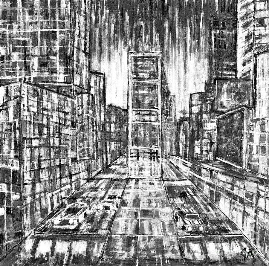 Times Square Lines And Squares - black white by Jeremy Aiyadurai