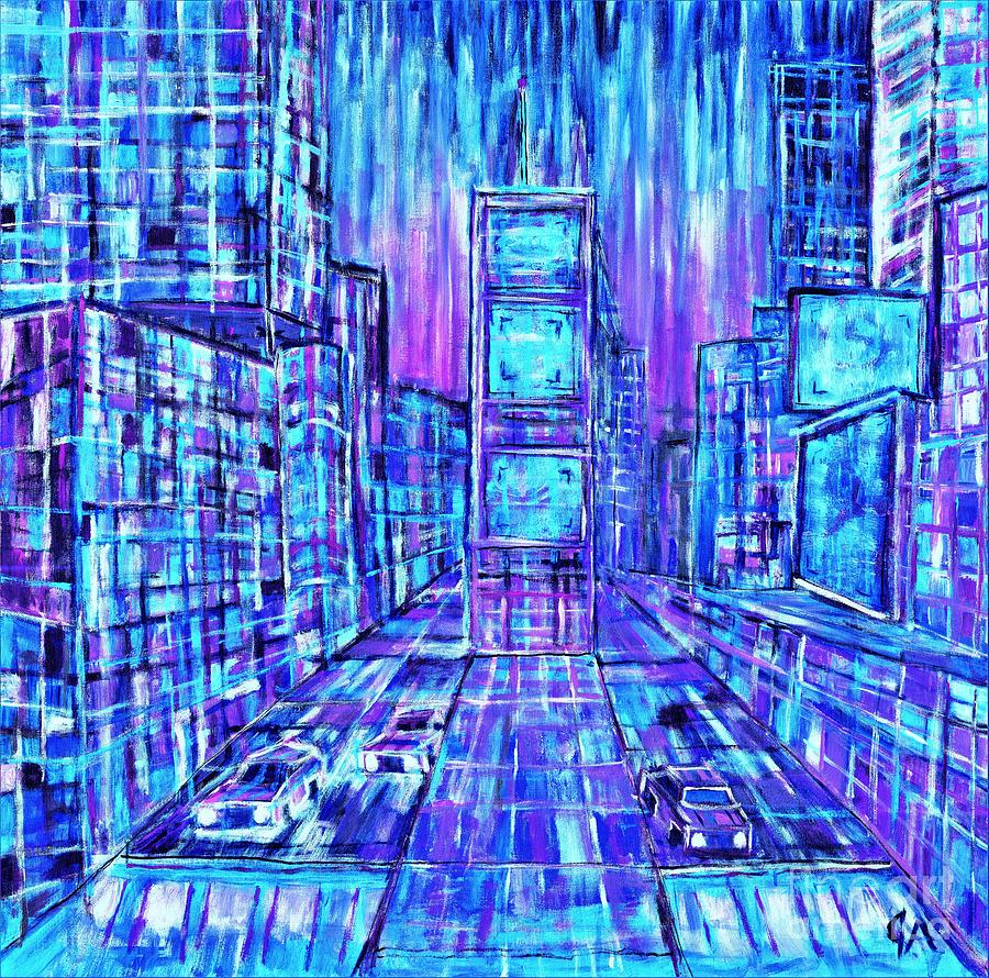 Times Square Lines And Squares - Blue Mode by Jeremy Aiyadurai