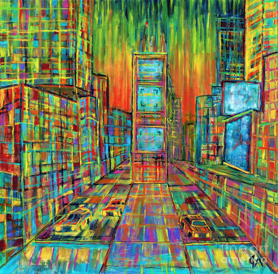 Times Square Lines And Squares by Jeremy Aiyadurai