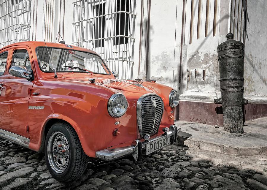 Tiny Red Car Trinidad Cuba by Joan Carroll