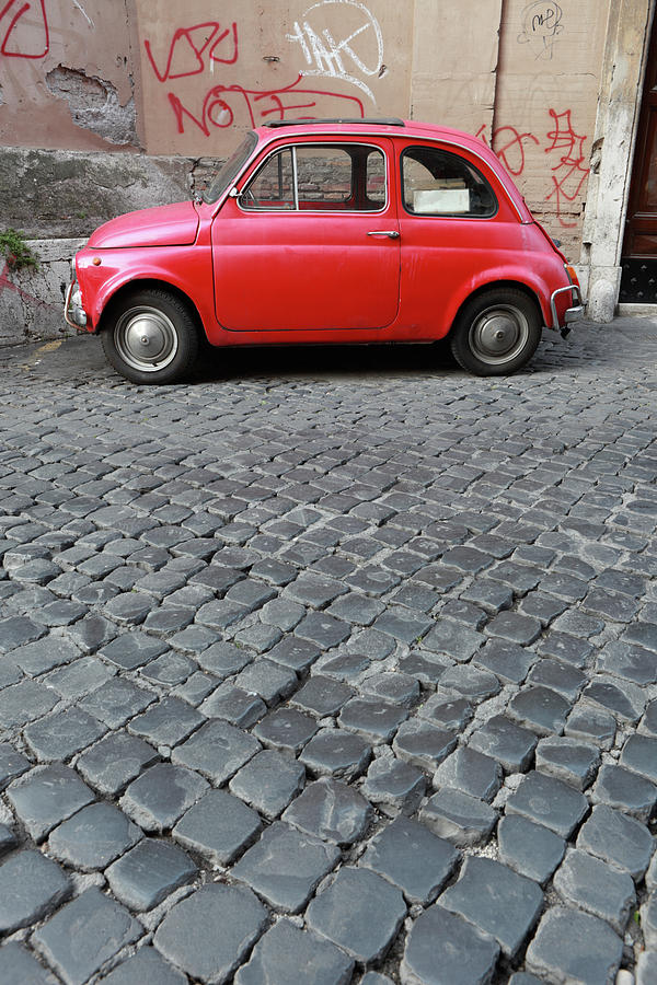 Tiny Red Vintage Car In Rome, Italy Photograph by Romaoslo