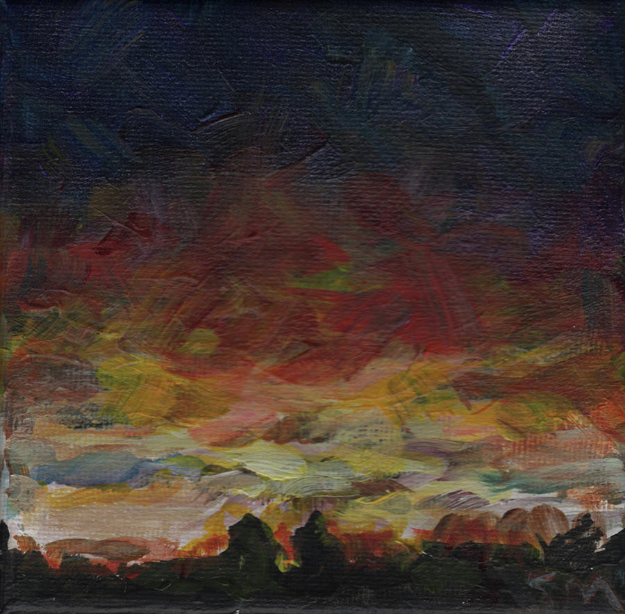 Sunset Painting - Tiny Sunset by Susan Moore
