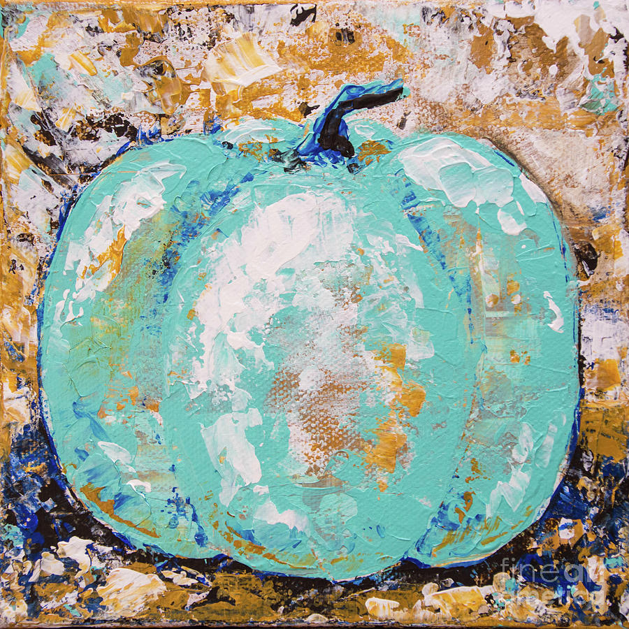 Tiny Turquoise Pumpkin 2 by Cheryl McClure