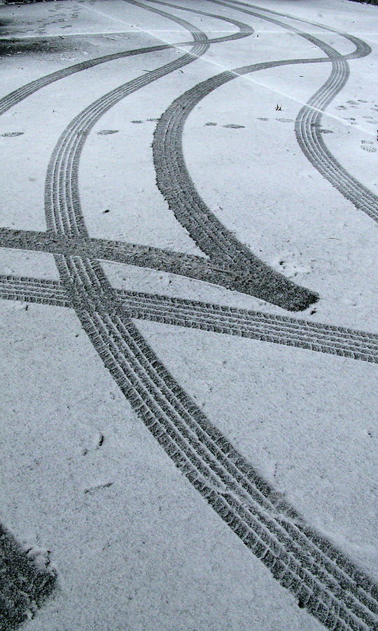 Tire Tracks In Snow, Winter Photograph by Jerry Whaley