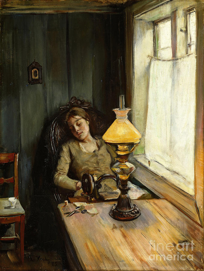 Tired. Artist Krohg, Christian 1852-1925 Drawing by Heritage Images