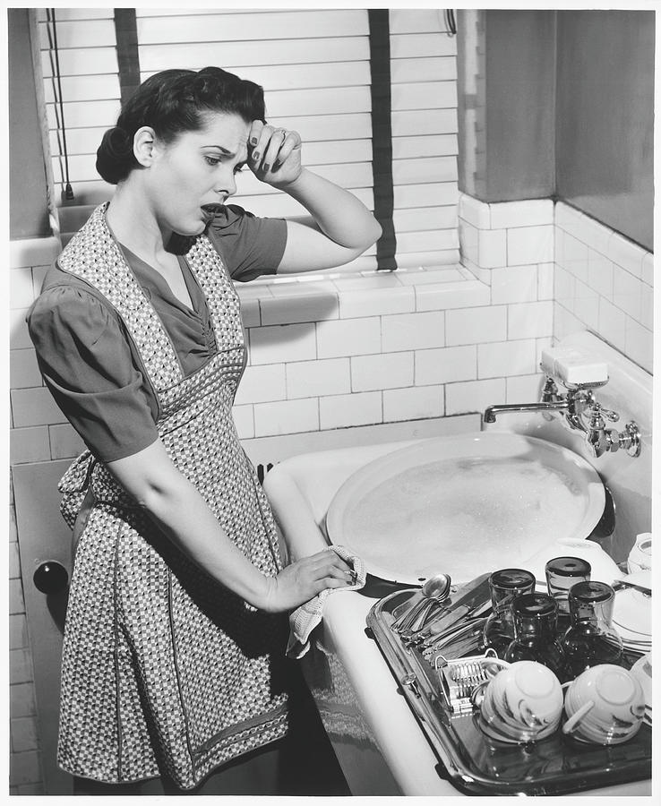 Tired Woman At Kitchen Sink, B&w Photograph by George Marks