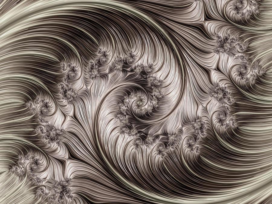 Titanium Double Fractal Spiral Digital Art