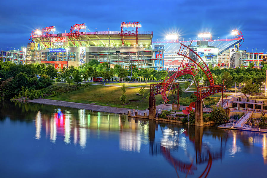 Titans Football Stadium on the River - Nashville Tennessee at Dawn by Gregory Ballos